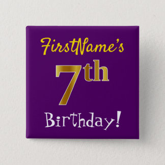 Purple, Faux Gold 7th Birthday, With Custom Name 2 Inch Square Button