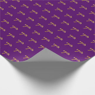 Purple, Faux Gold 7th (Seventh) Event Wrapping Paper
