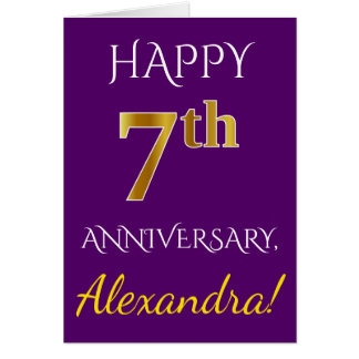 Purple, Faux Gold 7th Wedding Anniversary + Name Card
