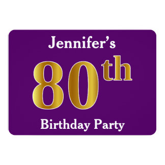 Purple, Faux Gold 80th Birthday Party; Custom Name Card
