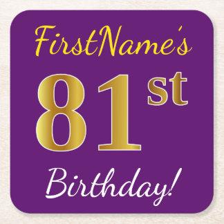 Purple, Faux Gold 81st Birthday + Custom Name Square Paper Coaster