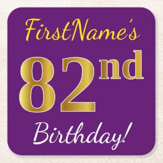 Purple, Faux Gold 82nd Birthday + Custom Name Square Paper Coaster