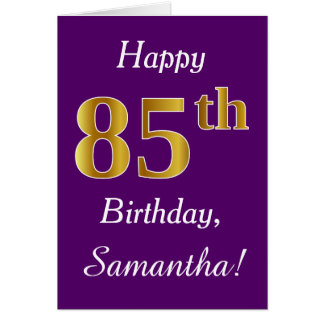 Purple, Faux Gold 85th Birthday + Custom Name Card