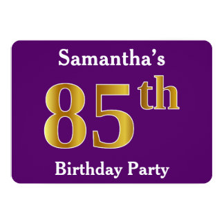 Purple, Faux Gold 85th Birthday Party; Custom Name Card