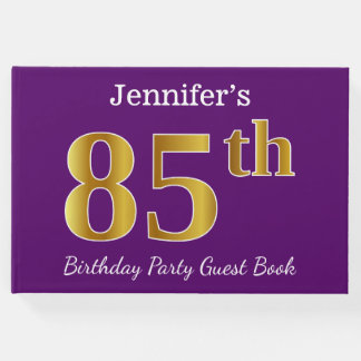 Purple, Faux Gold 85th Birthday Party; Custom Name Guest Book