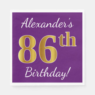 Purple, Faux Gold 86th Birthday + Custom Name Disposable Napkins