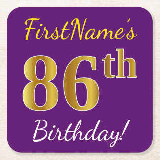 Purple, Faux Gold 86th Birthday + Custom Name Square Paper Coaster