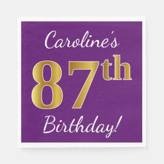 Purple, Faux Gold 87th Birthday + Custom Name Disposable Napkin
