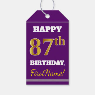 Purple, Faux Gold 87th Birthday + Custom Name Gift Tags