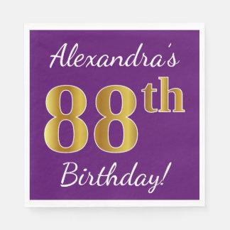 Purple, Faux Gold 88th Birthday + Custom Name Paper Napkin