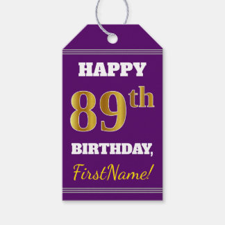 Purple, Faux Gold 89th Birthday + Custom Name Gift Tags