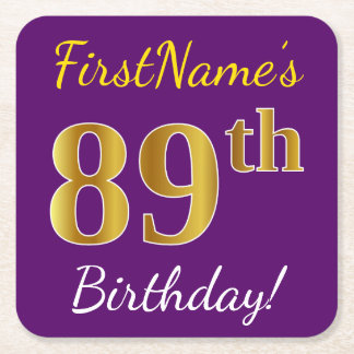 Purple, Faux Gold 89th Birthday + Custom Name Square Paper Coaster