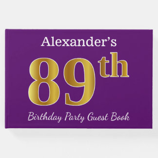 Purple, Faux Gold 89th Birthday Party; Custom Name Guest Book