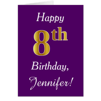 Purple, Faux Gold 8th Birthday + Custom Name Card