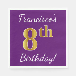 Purple, Faux Gold 8th Birthday + Custom Name Disposable Napkin