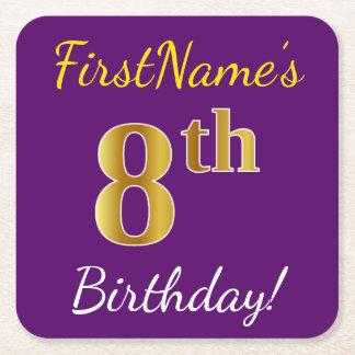 Purple, Faux Gold 8th Birthday + Custom Name Square Paper Coaster