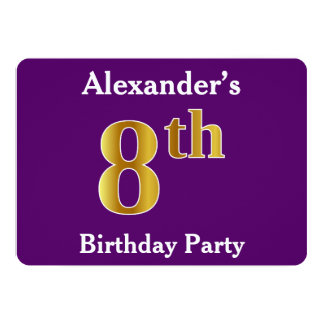 Purple, Faux Gold 8th Birthday Party + Custom Name Card