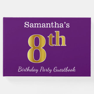 Purple, Faux Gold 8th Birthday Party + Custom Name Guest Book