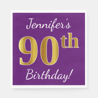 Purple, Faux Gold 90th Birthday + Custom Name Paper Napkins