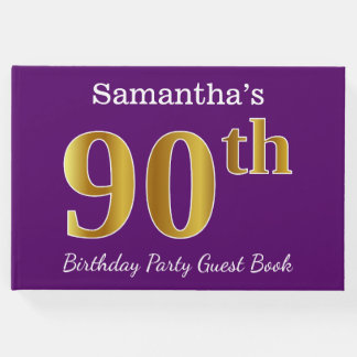 Purple, Faux Gold 90th Birthday Party; Custom Name Guest Book