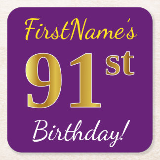 Purple, Faux Gold 91st Birthday + Custom Name Square Paper Coaster