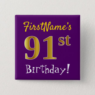 Purple, Faux Gold 91st Birthday, With Custom Name 2 Inch Square Button
