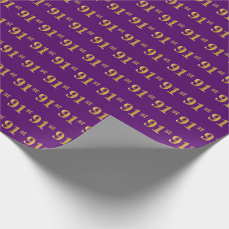 Purple, Faux Gold 91st (Ninety-First) Event Wrapping Paper