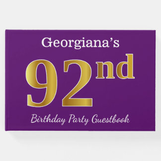 Purple, Faux Gold 92nd Birthday Party; Custom Name Guest Book