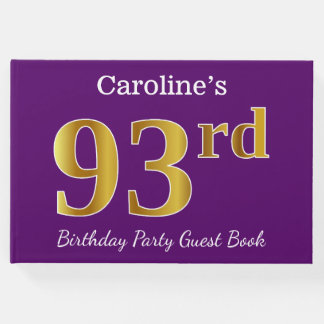 Purple, Faux Gold 93rd Birthday Party; Custom Name Guest Book