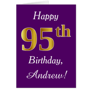 Purple, Faux Gold 95th Birthday + Custom Name Card