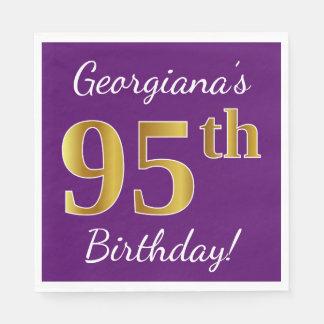 Purple, Faux Gold 95th Birthday + Custom Name Paper Napkin