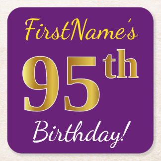 Purple, Faux Gold 95th Birthday + Custom Name Square Paper Coaster