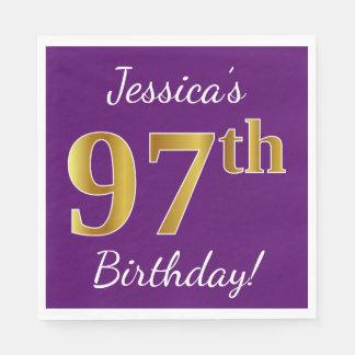 Purple, Faux Gold 97th Birthday + Custom Name Paper Napkin