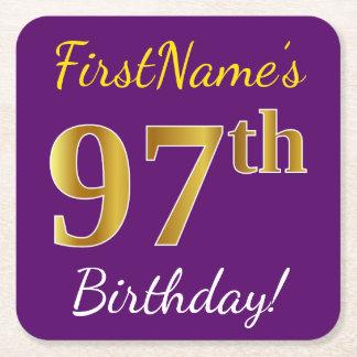 Purple, Faux Gold 97th Birthday + Custom Name Square Paper Coaster