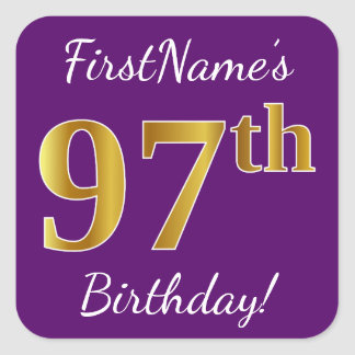 Purple, Faux Gold 97th Birthday + Custom Name Square Sticker