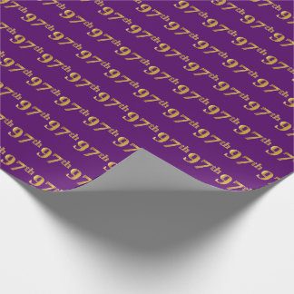 Purple, Faux Gold 97th (Ninety-Seventh) Event Wrapping Paper