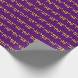 Purple, Faux Gold 98th (Ninety-Eighth) Event Wrapping Paper