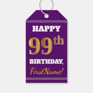 Purple, Faux Gold 99th Birthday + Custom Name Gift Tags
