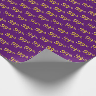 Purple, Faux Gold 99th (Ninety-Ninth) Event Wrapping Paper