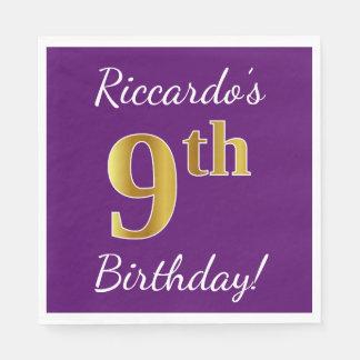 Purple, Faux Gold 9th Birthday + Custom Name Disposable Napkin