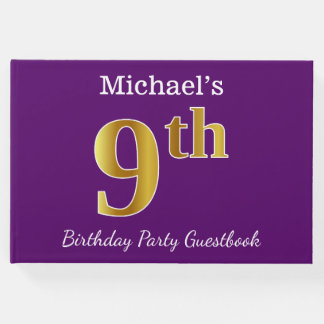 Purple, Faux Gold 9th Birthday Party + Custom Name Guest Book