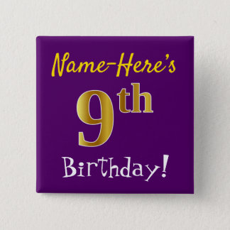 Purple, Faux Gold 9th Birthday, With Custom Name 2 Inch Square Button