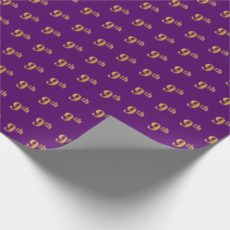 Purple, Faux Gold 9th (Ninth) Event Wrapping Paper