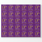 "Purple, Faux Gold ""HAPPY 13th BIRTHDAY"" Wrapping Paper"