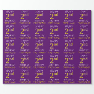 "Purple, Faux Gold ""HAPPY 2nd BIRTHDAY"" Wrapping Paper"