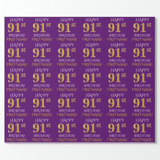 """Purple, Faux Gold """"HAPPY 91st BIRTHDAY"""" Wrapping Paper"""