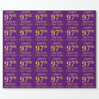 """Purple, Faux Gold """"HAPPY 97th BIRTHDAY"""" Wrapping Paper"""