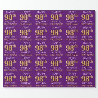 """Purple, Faux Gold """"HAPPY 98th BIRTHDAY"""" Wrapping Paper"""