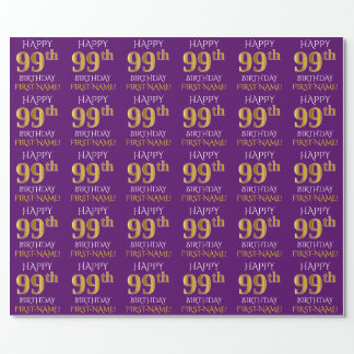"""Purple, Faux Gold """"HAPPY 99th BIRTHDAY"""" Wrapping Paper"""