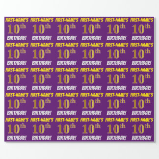 "Purple, Faux/Imitation Gold, ""10th BIRTHDAY"" Wrapping Paper"